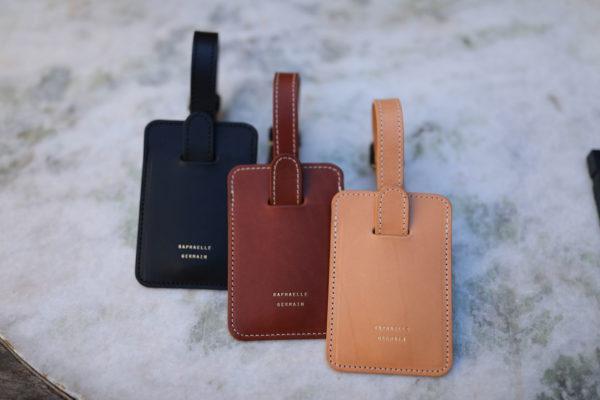 porte-étiquette valise en cuir